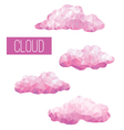 Set of pink clouds geometric in style low poly vector image