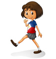 Singapore girl walking alone vector image vector image