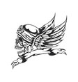 skull at helmet and wings on background vector image