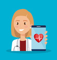 smartphone with doctor and telemedicine icons vector image