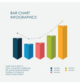 triangle bar chart infographics elements 3d vector image vector image