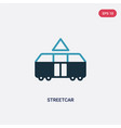 two color streetcar icon from transport concept vector image