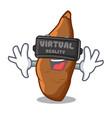virtual reality ripe cassava on the cartoon table vector image