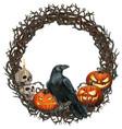 watercolor halloween wreath with crow skulls vector image