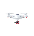 White Drone With Red Camera vector image