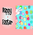 white rabbit and egg on blue back groundbunny vector image
