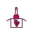 wine bottle in cardboard box grapes celebration vector image