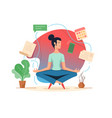 woman balancing in lotus position vector image vector image