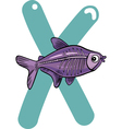 X for x-ray fish vector image vector image