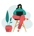 young female with laptop works from home vector image vector image