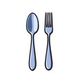 fork and spoon sketch cartoon isolated vector image