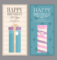 set of two birthday card with gift boxes vector image