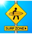 Surf zone yellow road sign on sky background vector image