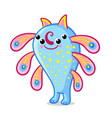 a cute monster with four eyes blue alien stands vector image vector image