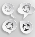 Abstract recycle symbol White flat buttons on gray vector image vector image