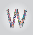 big people crowd gathering in shape letter w vector image vector image