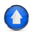 blue up button with white arrow shiny 3d icon vector image vector image
