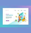 booking isometric landing page vector image vector image