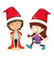 Boy and girl wearing santa outfit vector image vector image