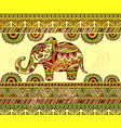 bright horizontal ethnic pattern with elephant vector image