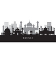 brunei landmarks skyline in black and white vector image