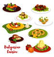 bulgarian cuisine lunch menu icon with meat dish vector image vector image