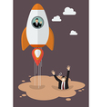 Businessman on a rocket get away from puddle of vector image vector image