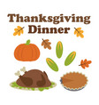 cartoon icons for thanksgiving dinner vector image