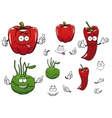Cartoon kohlrabi chili and red pepper vegetables vector image