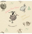 Christmas seamless texture with sheep vector image vector image