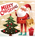 christmas with santa claus and tree vector image vector image
