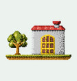 color pixelated house in meadow with tree vector image vector image