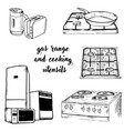 doodle assortment of gas and kitchen vector image vector image