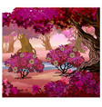 fairy forest with pink trees fantasy nature vector image vector image