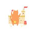 funny cat building a sand castle on a beach vector image vector image
