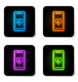 glowing neon smartphone with heart rate monitor vector image vector image