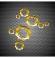 Golden gears on perforated metal background vector image