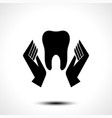 hand holding a tooth icon vector image vector image