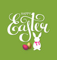 happy easter lettering with bunny eggs and bow vector image vector image