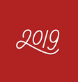 happy new year 2019 line art text vector image vector image