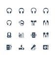 headphones and audio equipment icon set in glyph vector image vector image