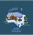 hello winter winter picture with a sleeping cat vector image