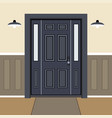 house door front with window and in flat style vector image