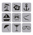 icon set summer flat vector image vector image