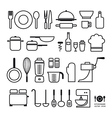 Kitchen tool icons collection vector image vector image