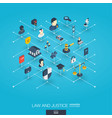 law and justice integrated 3d web icons digital vector image