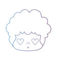 line nice man head with hairstyle and heart eyes vector image vector image