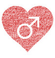 male love heart fabric textured icon vector image vector image