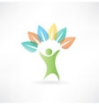 man holding leaves icon vector image vector image