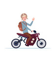 man in helmet riding motorcycle or motorbike vector image